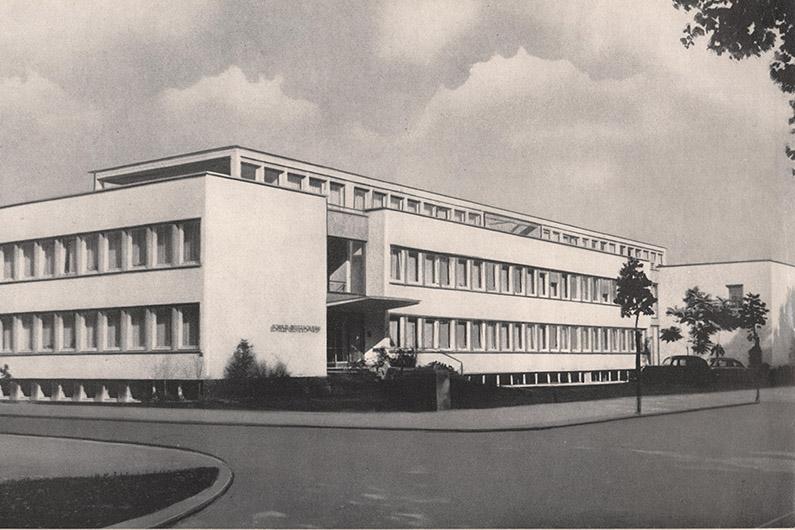 Schwarzweiß-Fotografie eines weißen, flachen Gebäudes mit langen Fensterreihen, davor eine Straße, am rechten Bildrand ein Baum.