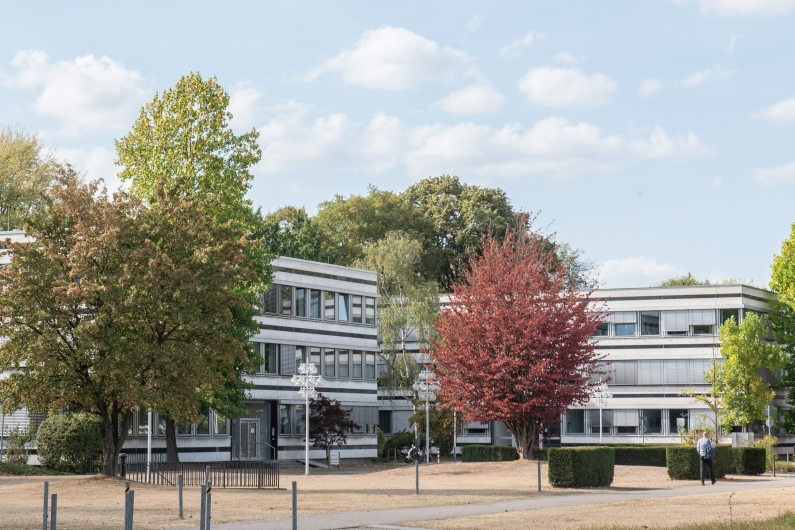 Außenansicht der Atriumbauten am Bonner Tulpenfeld bei blauem Himmel, längliche Flachbauten mit langen Fensterreihen und Jalousien, umgeben von Bäumen.